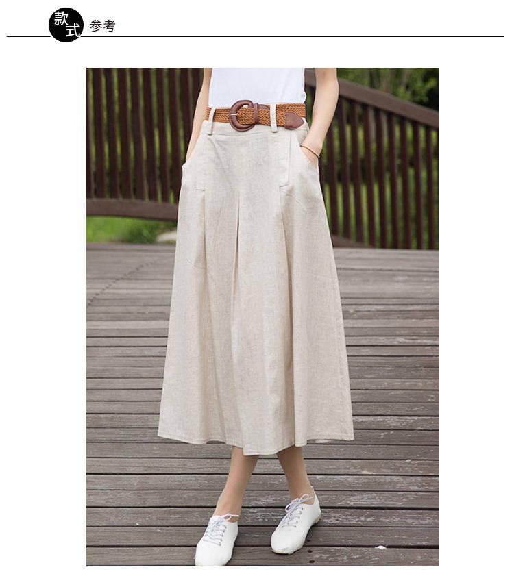 2001纯亚麻布料素色亚麻裙子