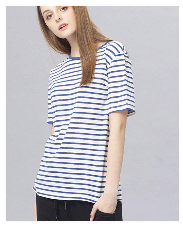 亚麻条纹布料棉麻细条纹薄款T恤