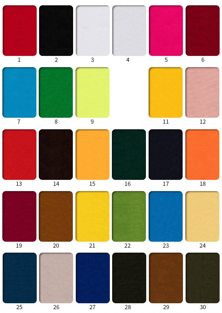 32S优质涤纶卫衣面料色卡