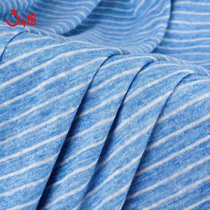 纯亚麻1x1间条面料 薄而不透舒适柔软T恤打底衫连衣裙服装面料
